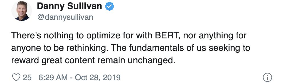 danny sullivan's tweet about bert
