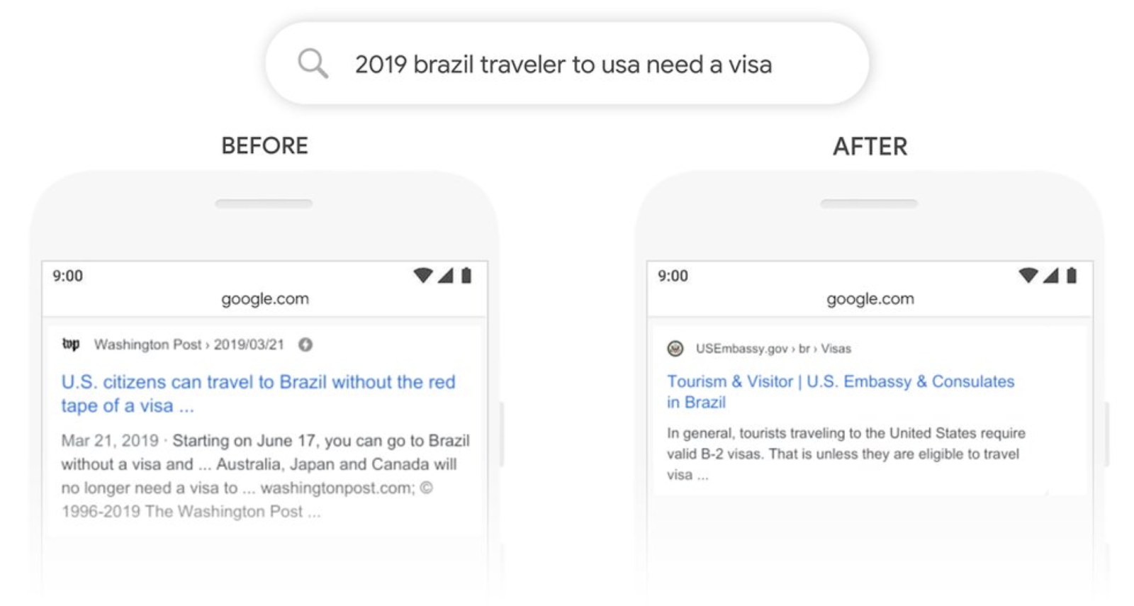 google search results after the bert update - a visa example