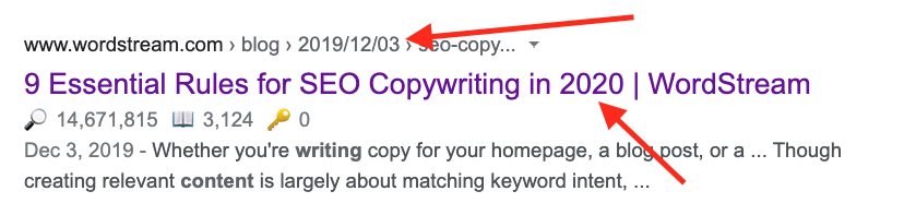 google serp result date in title