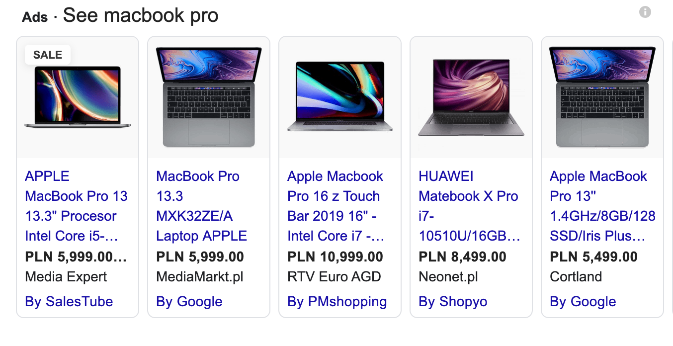 shop ads for macbook pro in SERP