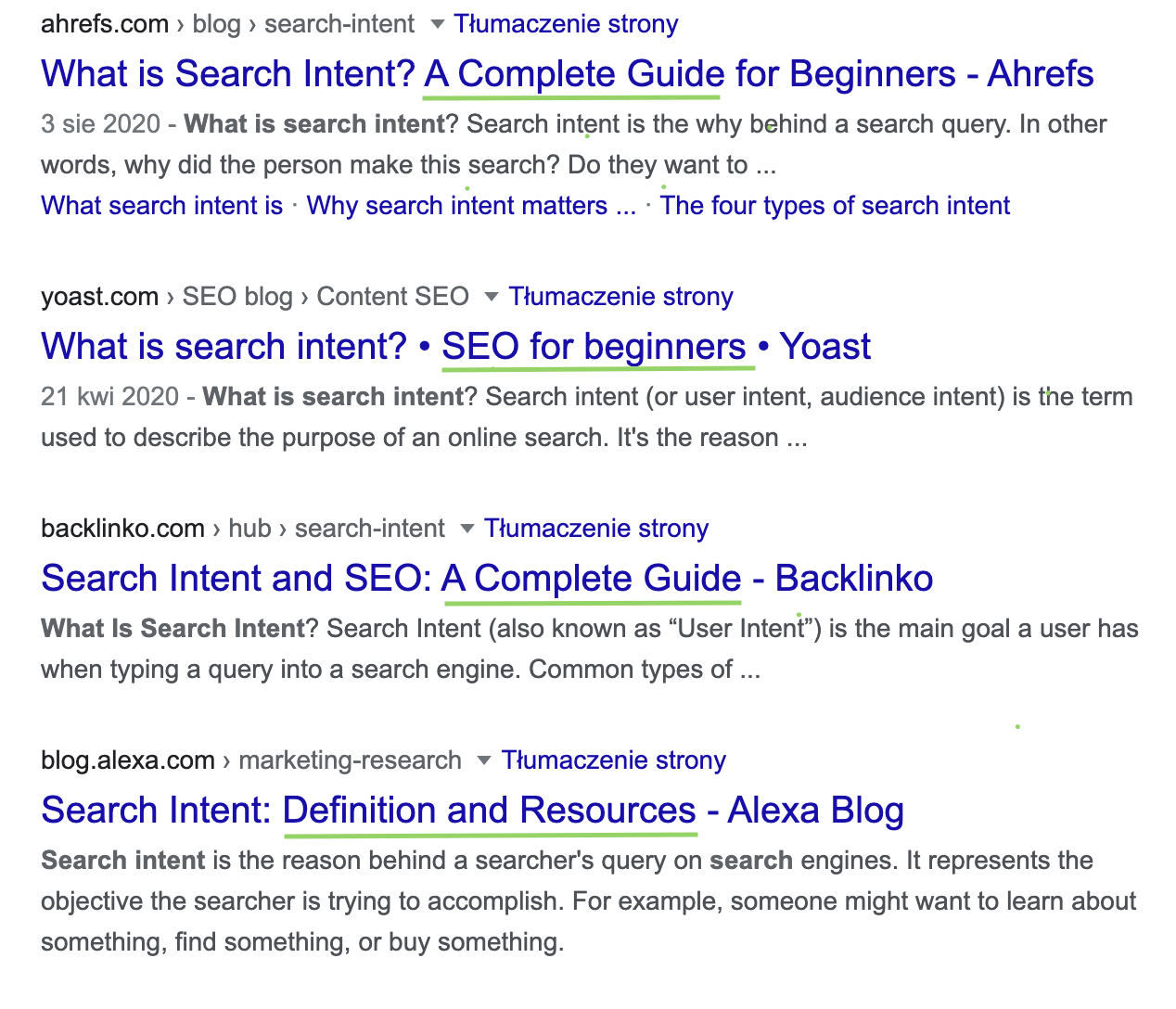 SERP for the what is search intent query