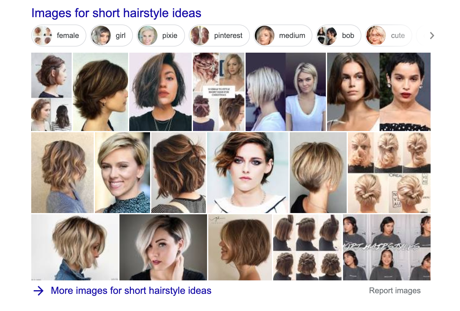 "picture carousel in SERP for ""short hairstyle ideas query"""