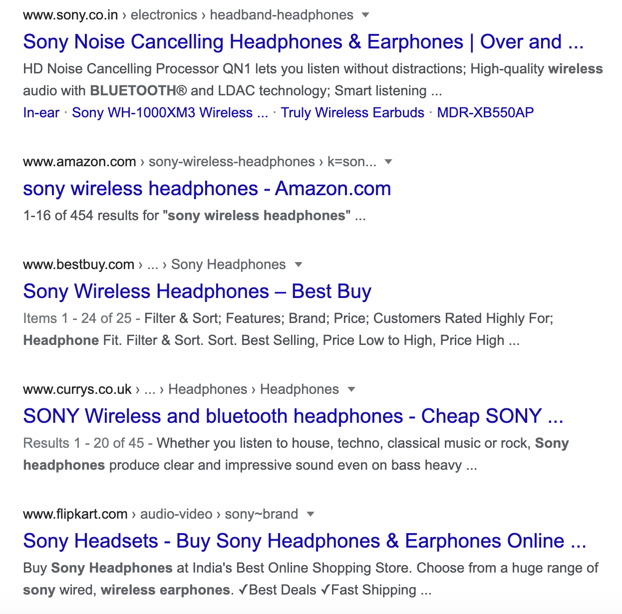 SERP for wireless headphones sony query