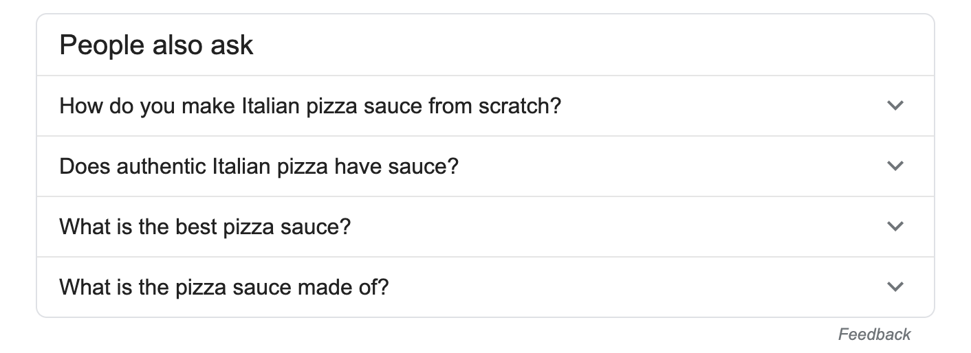 people also ask section in Google for the italian pizza sauce recipe query