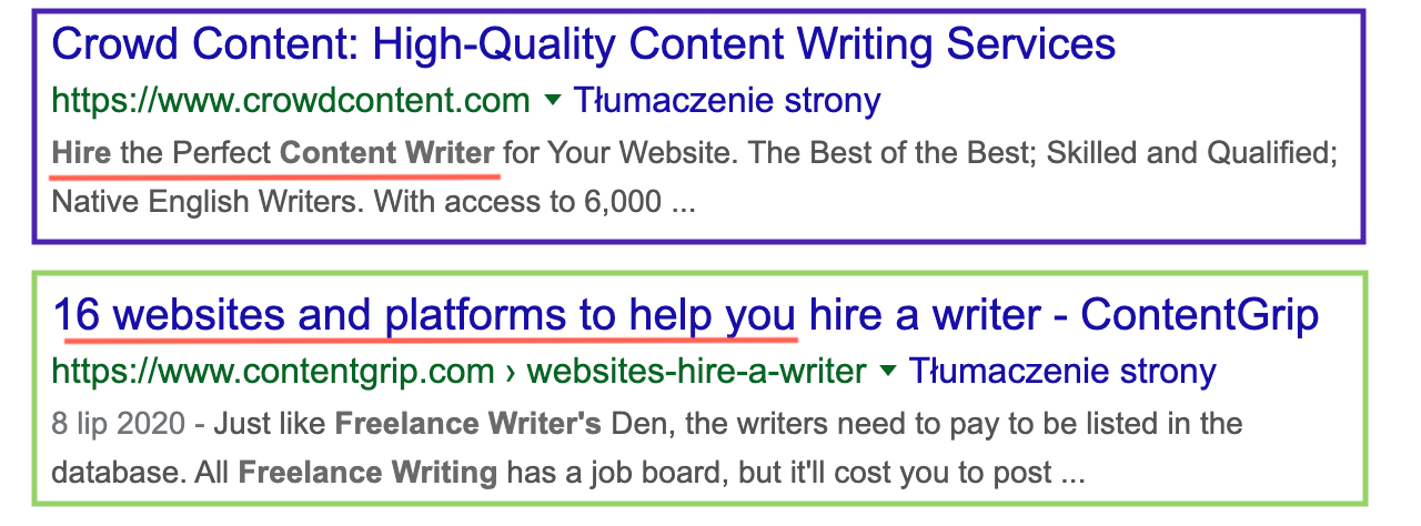 search intent in serp for hire content writers keyword 2