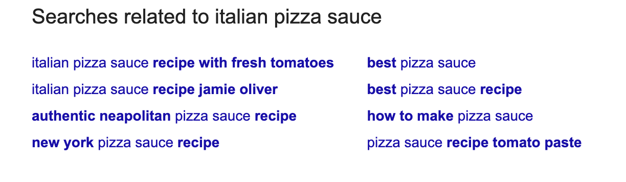 related searches to italian pizza sauce in Google