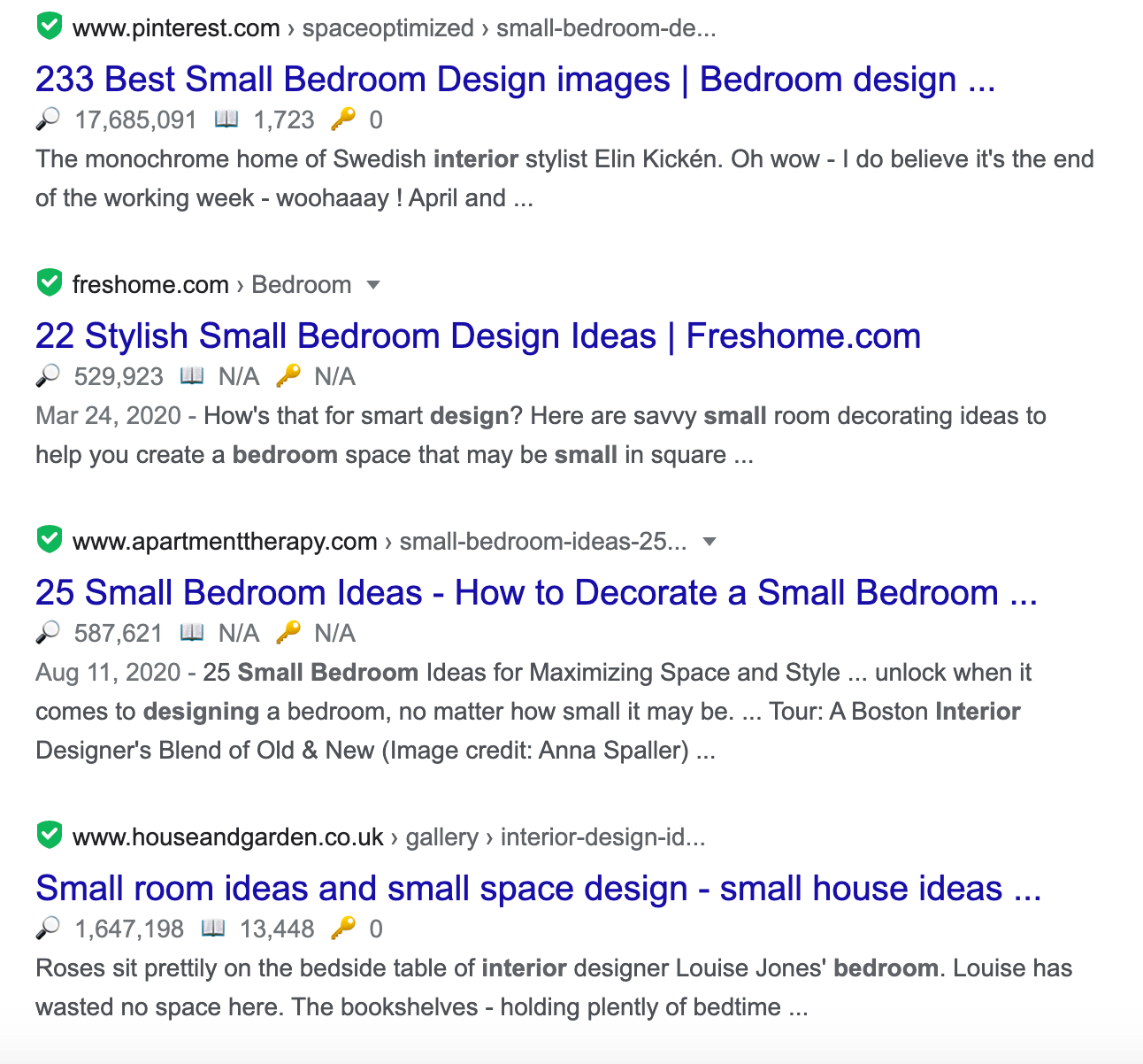 top results in google for interior design for small bedroom query