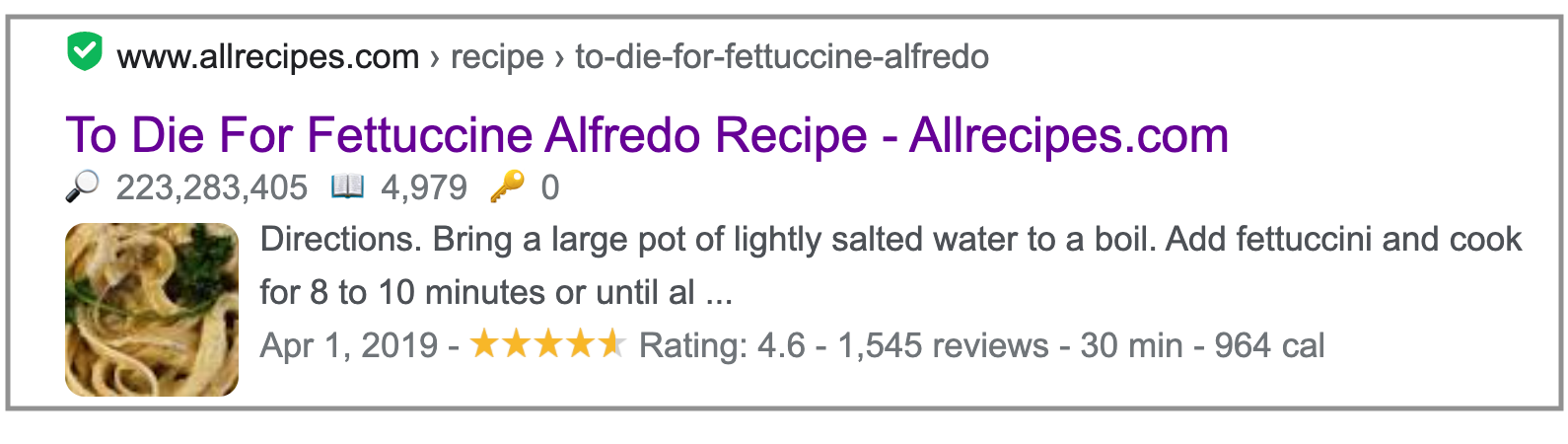 rich snippet in SERP