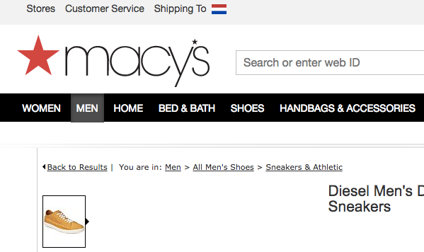 breadcrumbs on macy's site