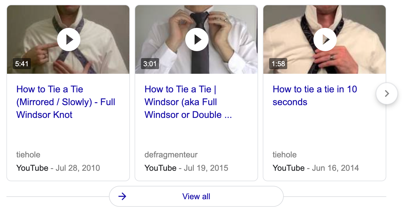 a video pack in SERP