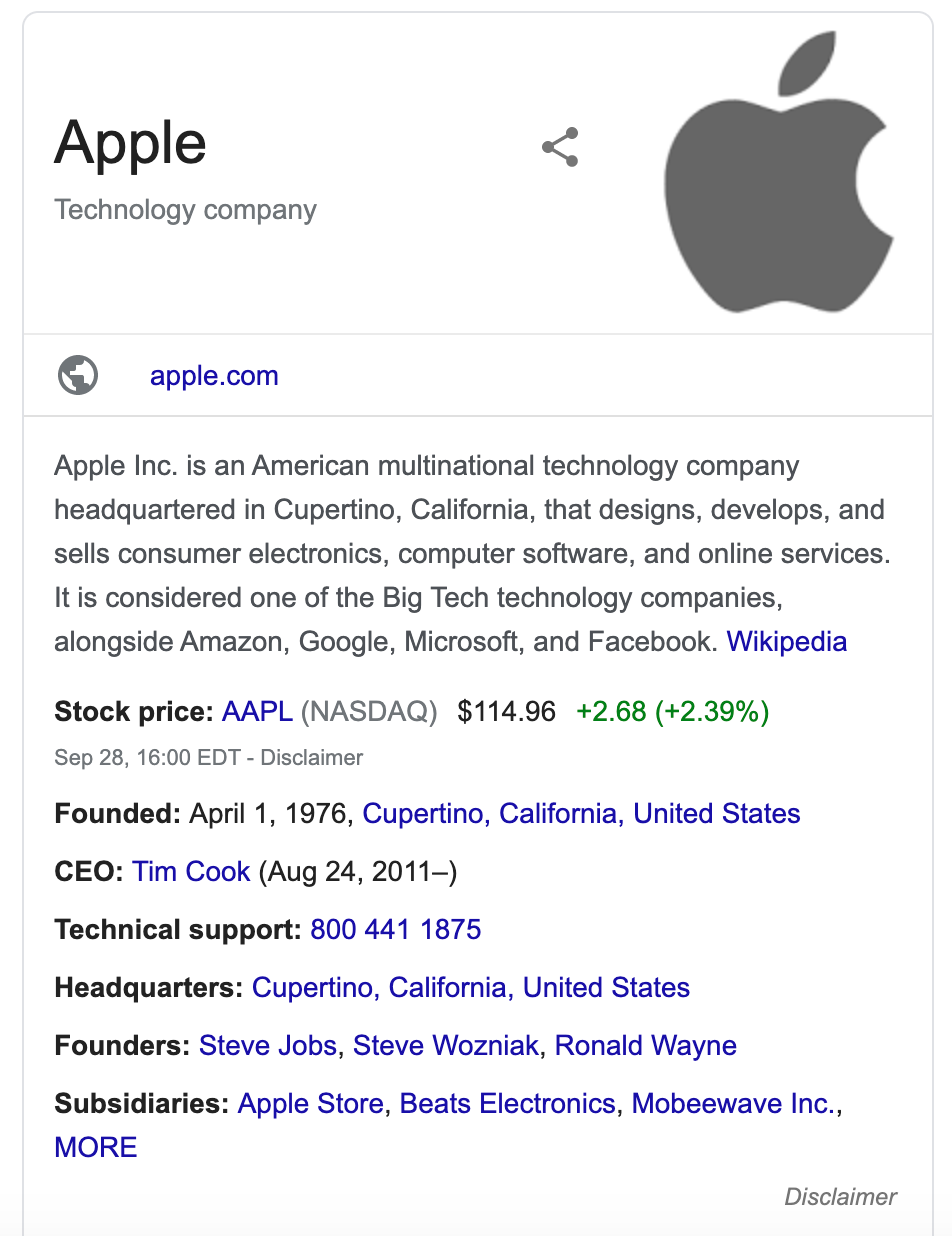 a knowledge panel for apple