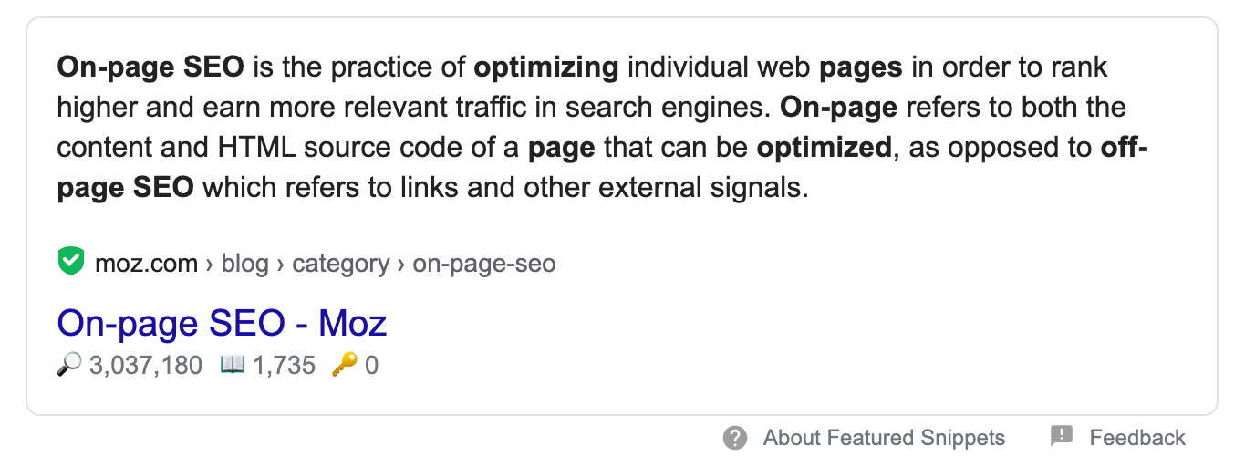 A featured snippet for on-page SEO