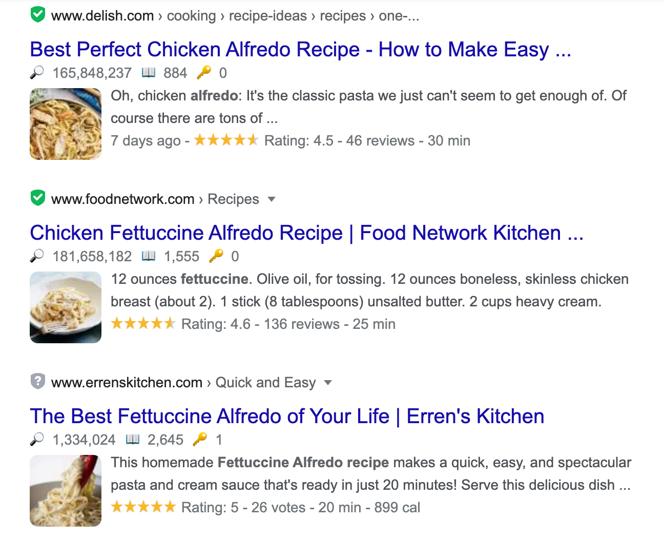 recipe rich snippets