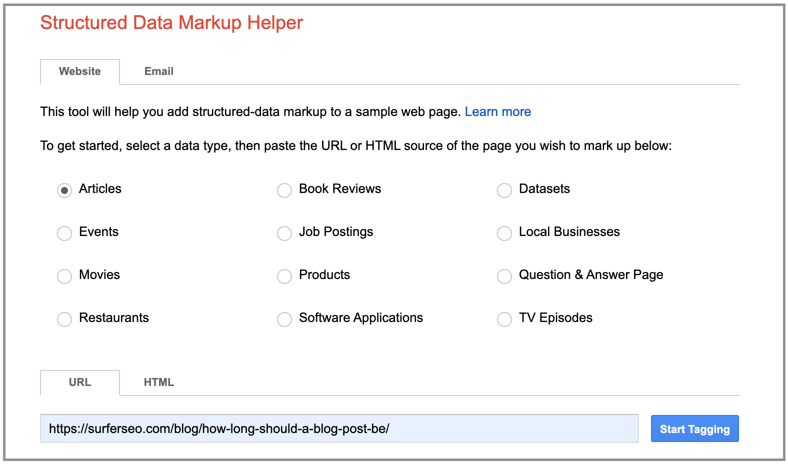 the first menu of google structured data markup helper