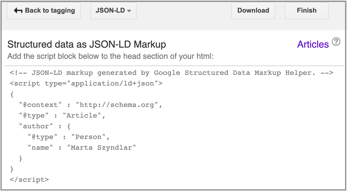 script block in google's structured data markup helper