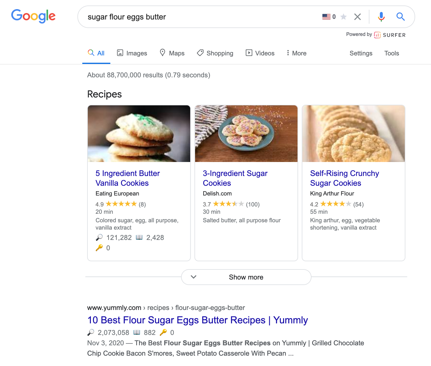 "google results for ""sugar flour eggs butter"" query showing cookie recipesr"