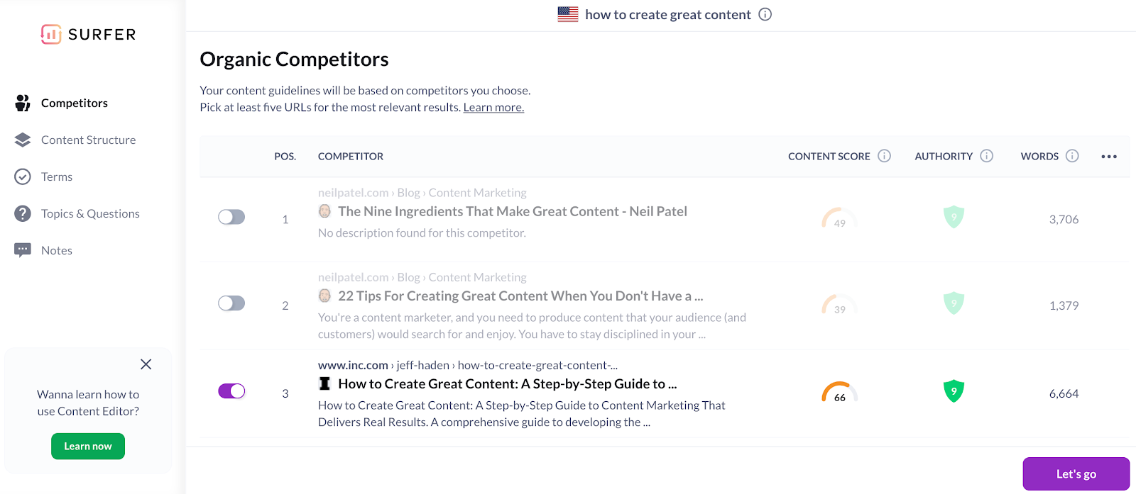 Selecting competitors in Content Editor 2.0
