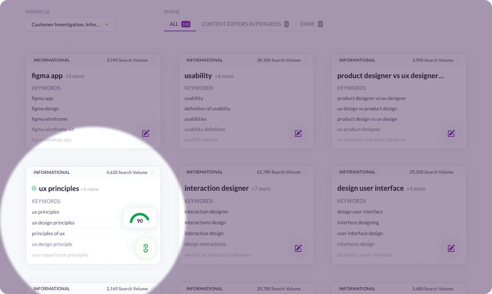 Checking content score in Surfer Content Planner