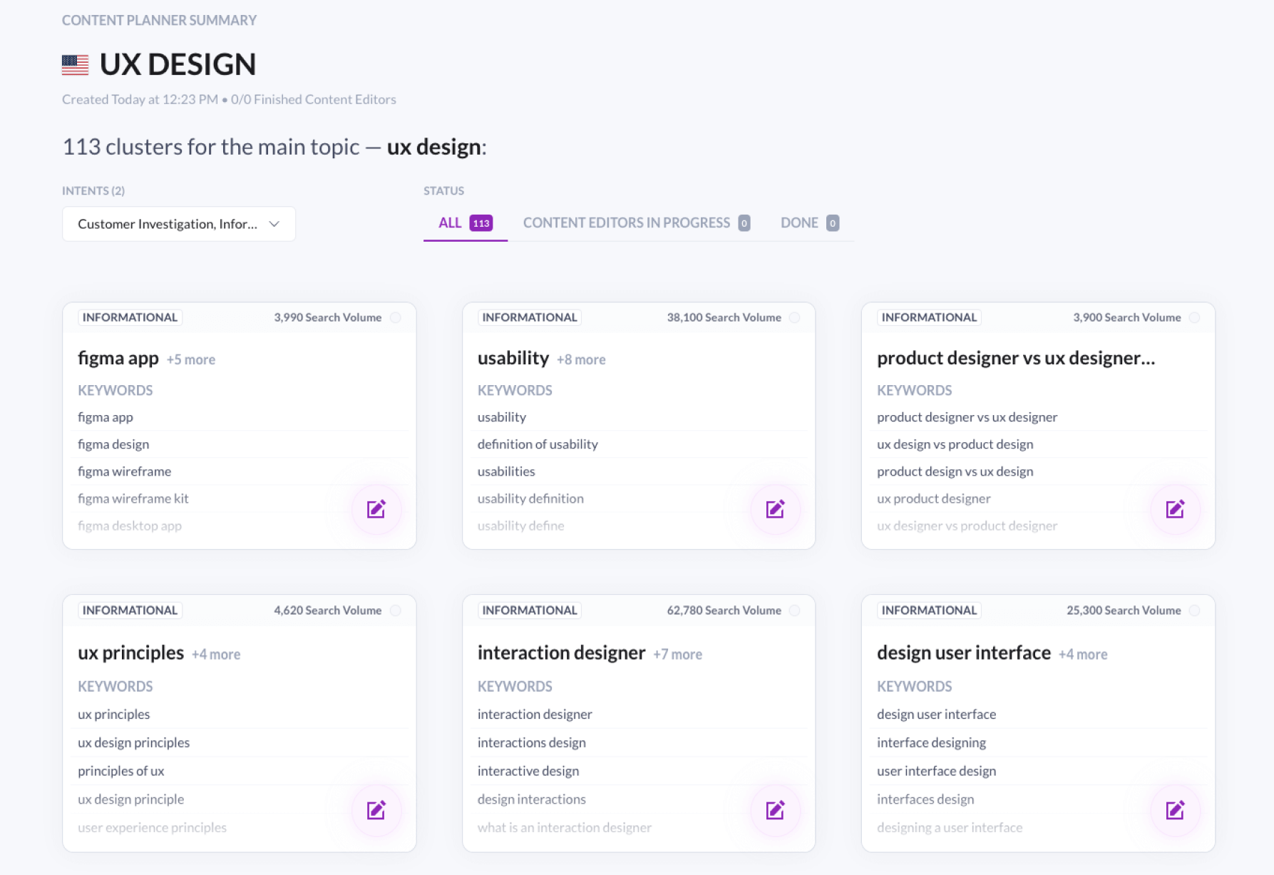 results in surfer content planner for ux design query