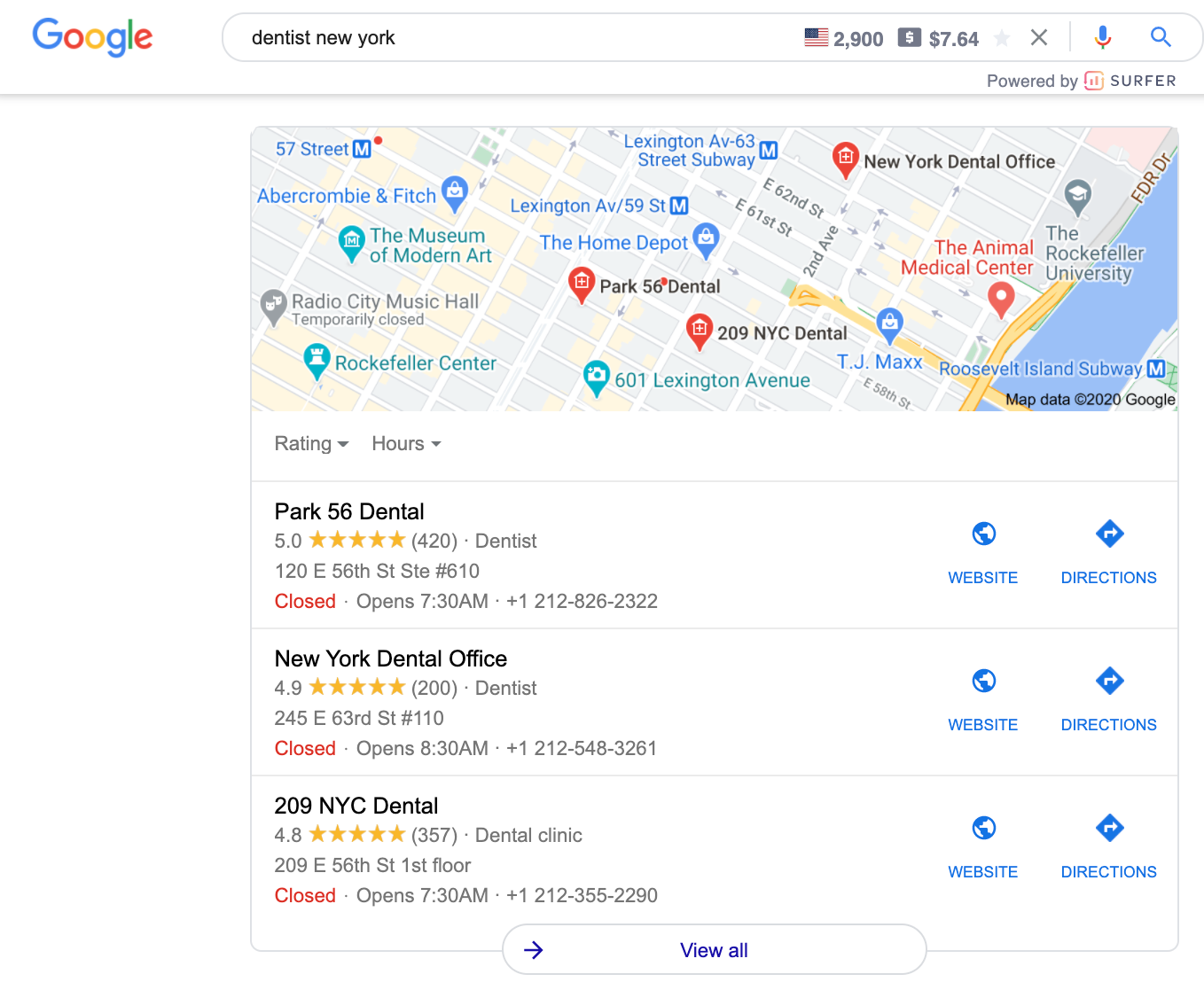 local map in serp