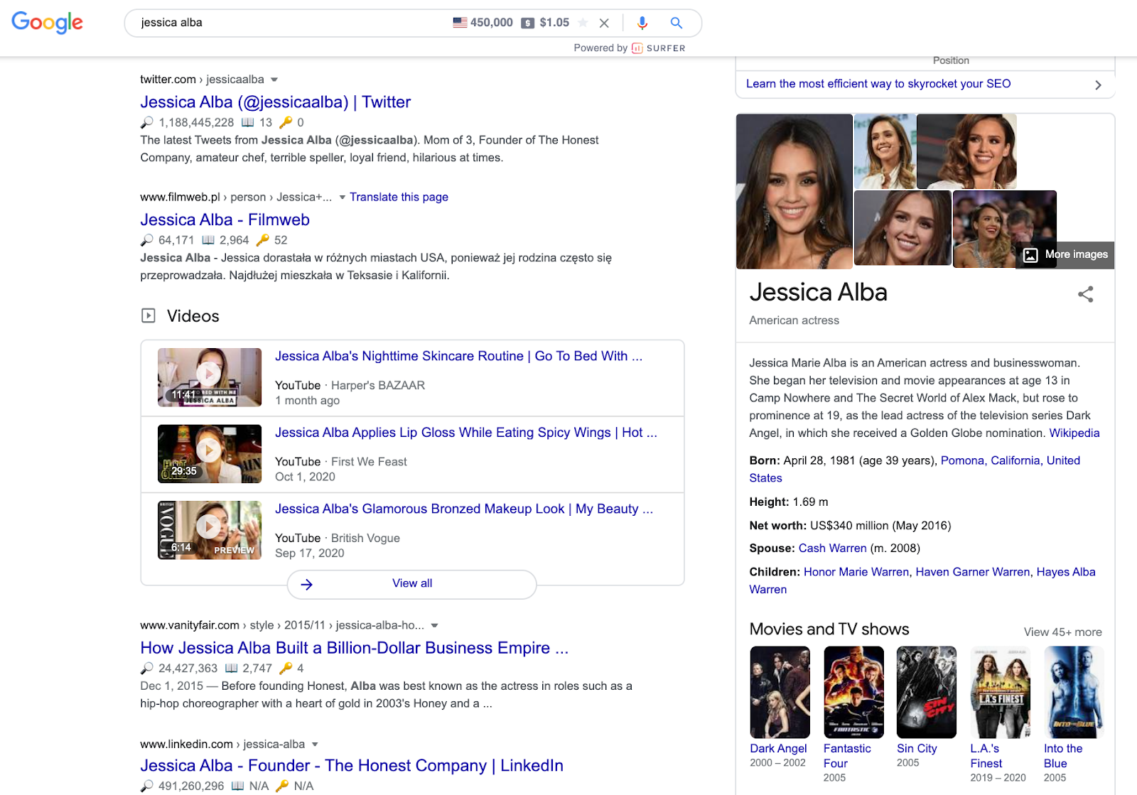 knowledge graph in google serp for a query with informational search intent