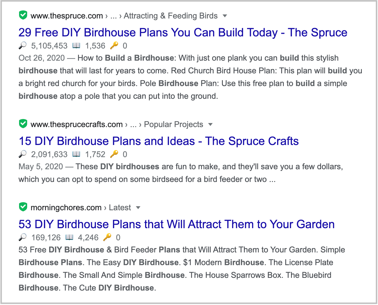 search results with many SERP features 3