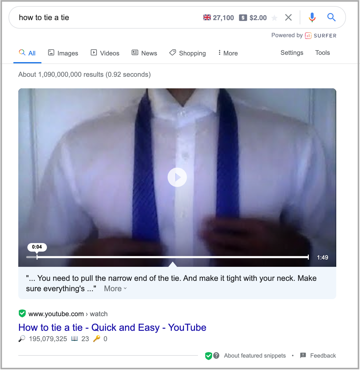 search results for how to tie a tie query