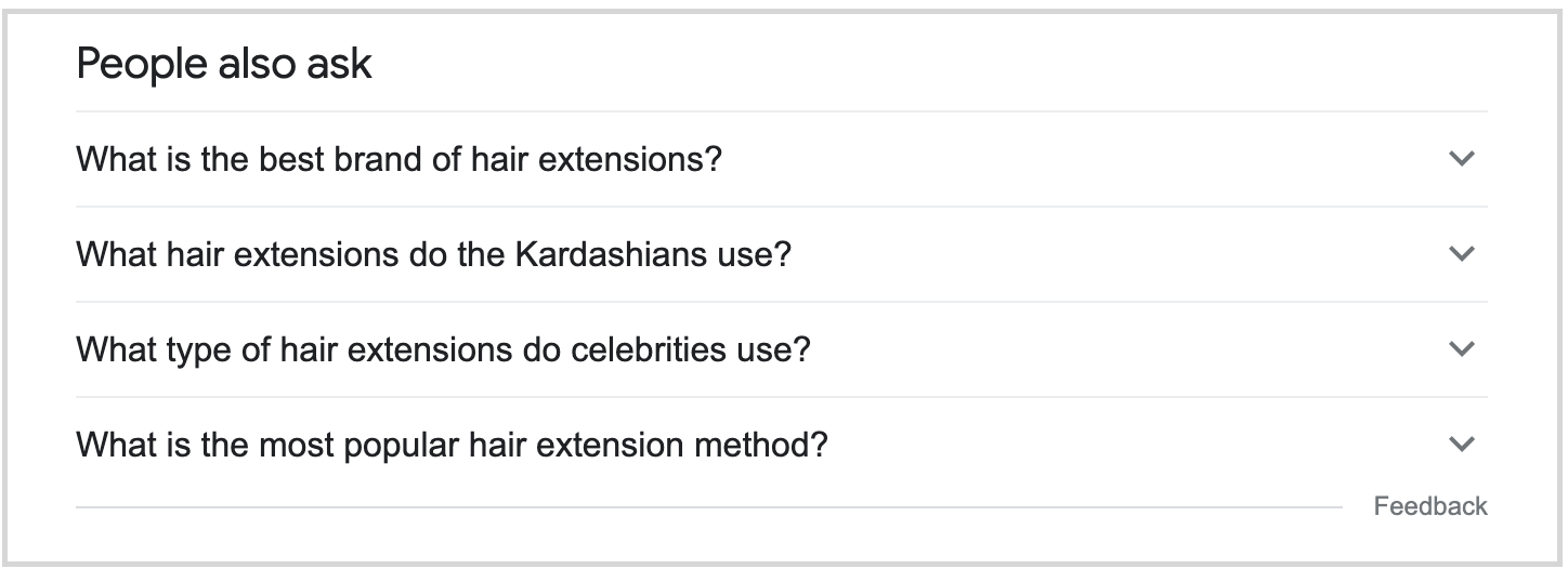 people also ask box in search results for hair extensions query