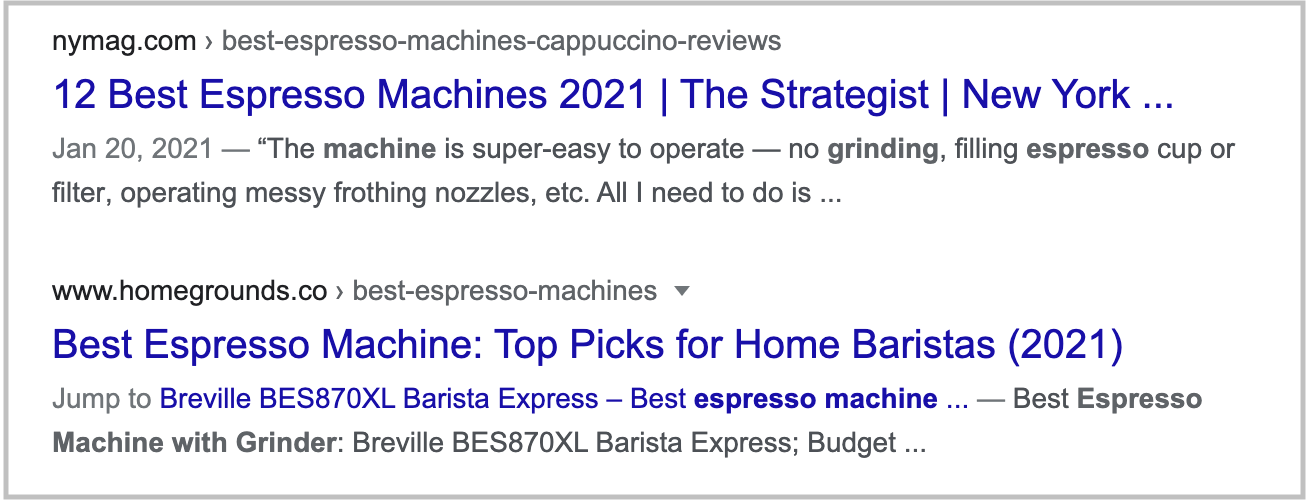 search results for espresso machine with grinder query