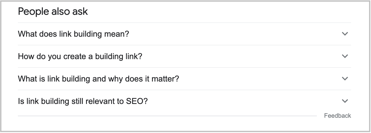 people also ask box in search results for link building keyword