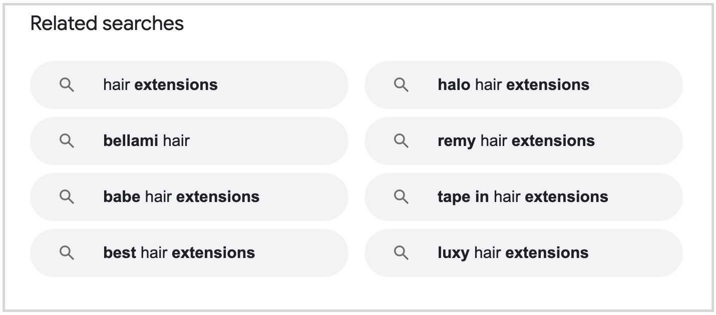 related searches in search results for hair extensions query