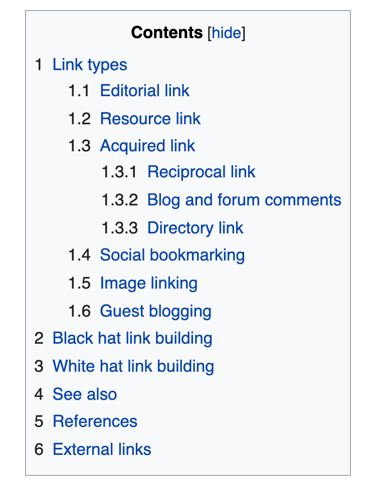table of content for link building on wikipedia