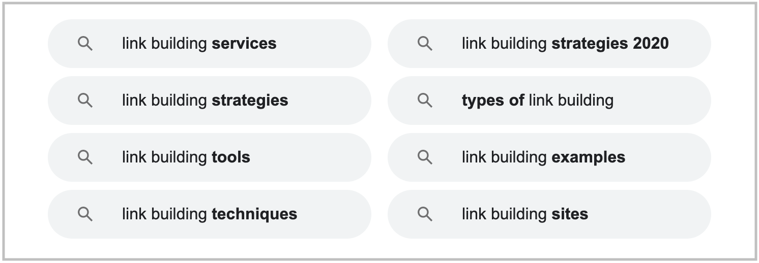 related searches in search results for link building keyword
