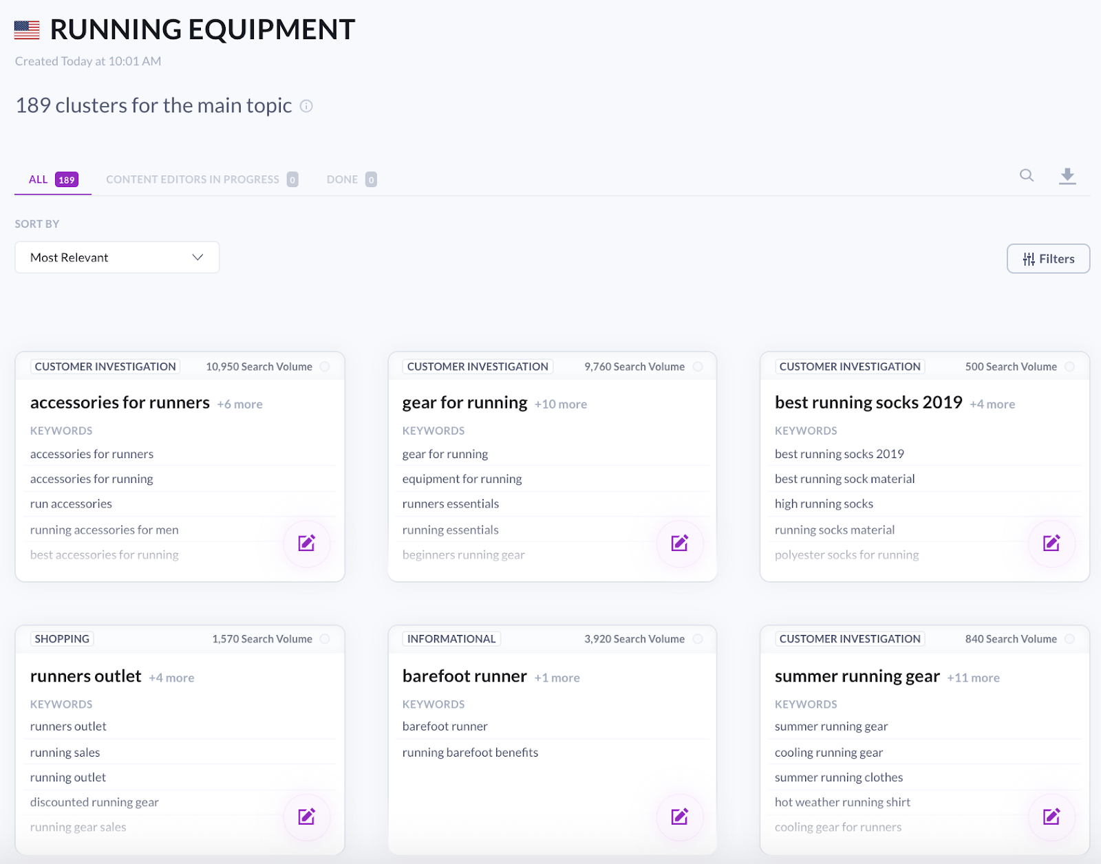 content planner for the running equipment query