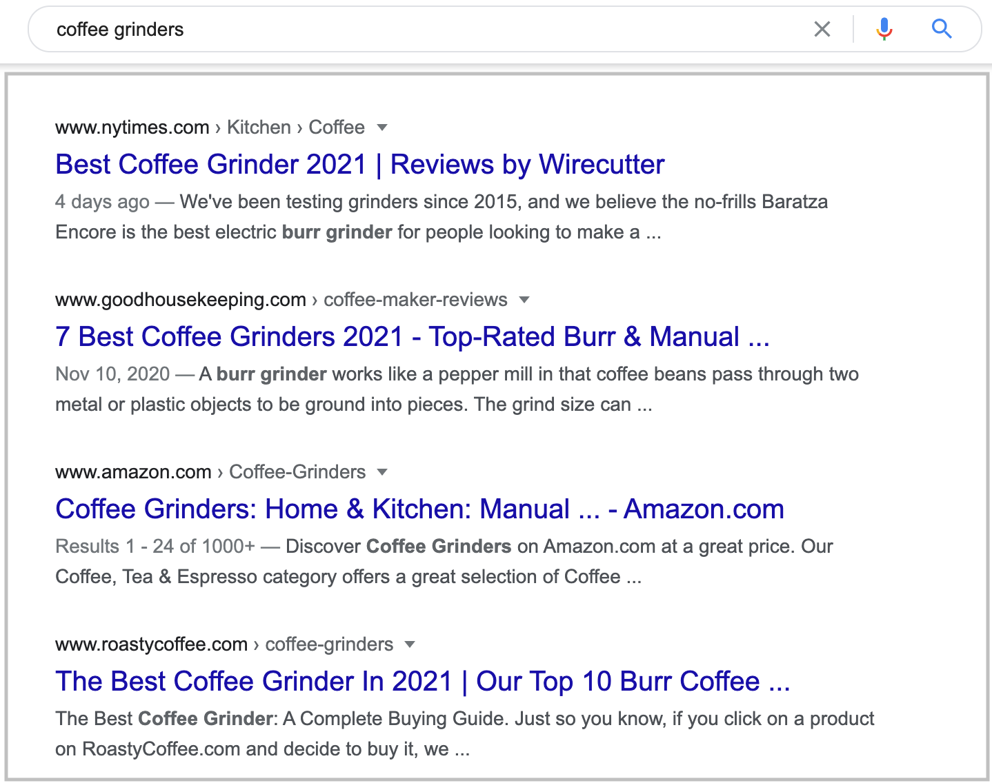 search results for coffee grinders query