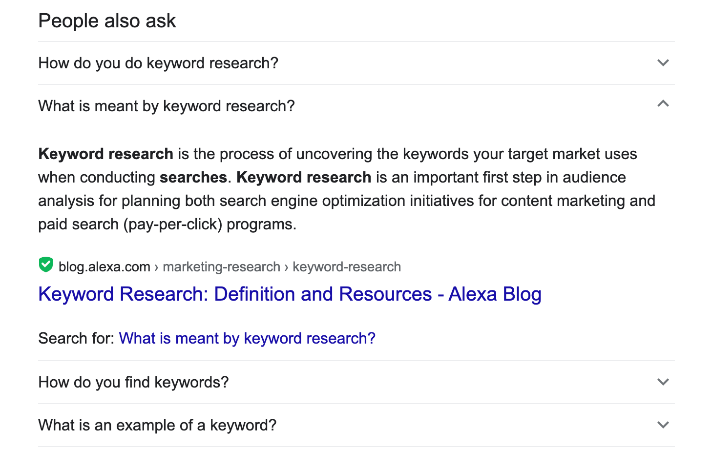 People also ask box in keyword research query