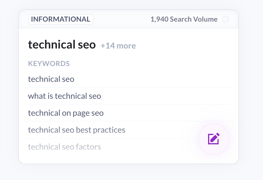topical cluster for technical seo keyword in surfer content planner