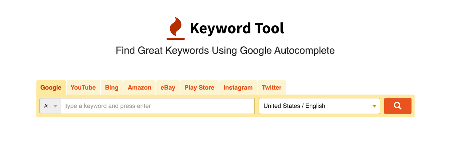 search bar in keyword tool