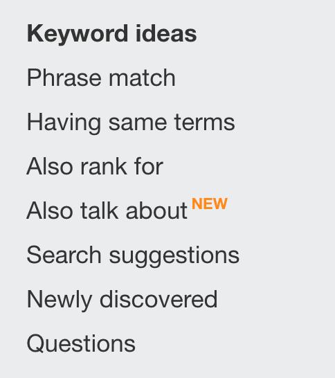 keyword ideas in ahrefs