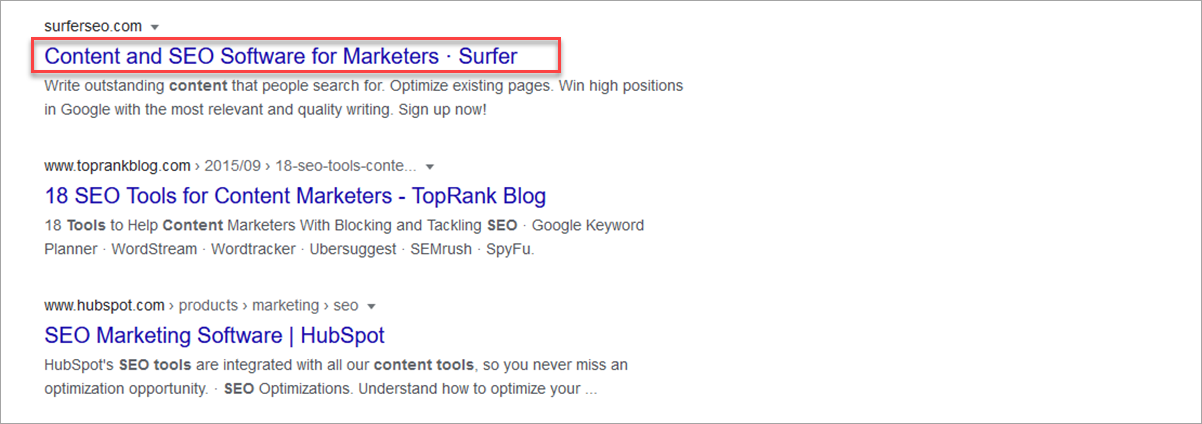 example of a title tag on a search result page