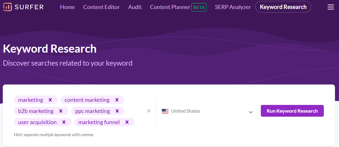 Surfer keyword research tool