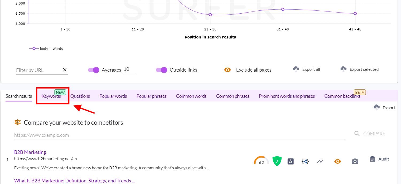 keyword analysis in surfer serp analyzer