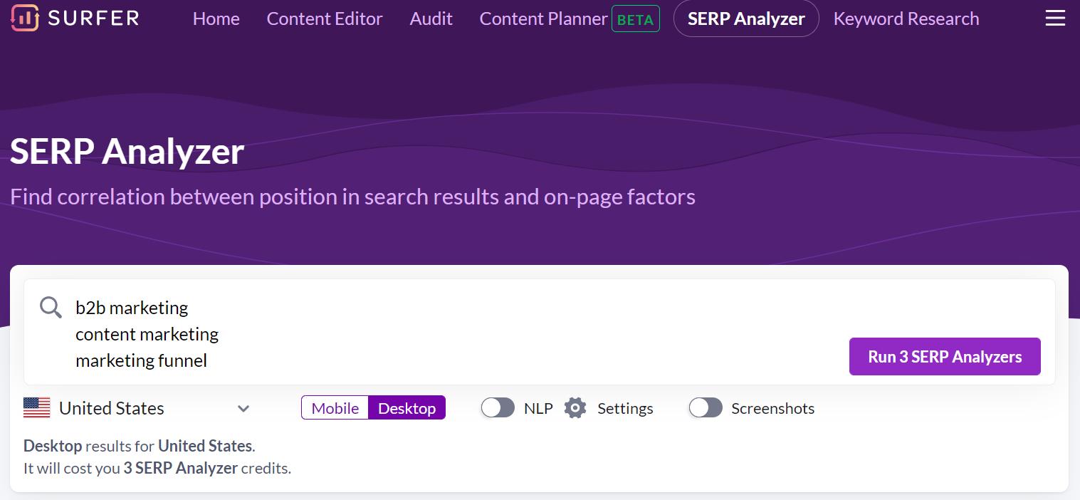 creating surfer serp analyzer for multiple keywords