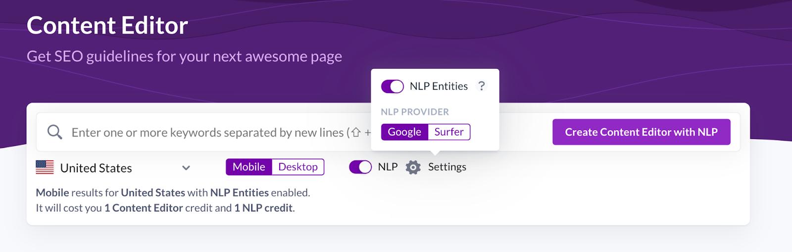choosing Surfer NLP settings in Content Editor