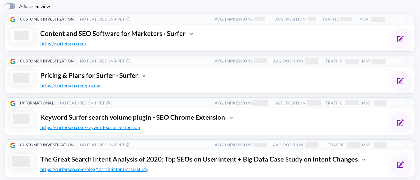 Surfer Content Planner for the domain main view 1
