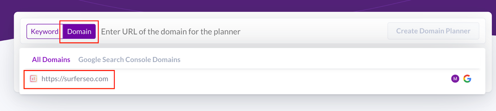 Picking domain and country in Surfer Content Planner