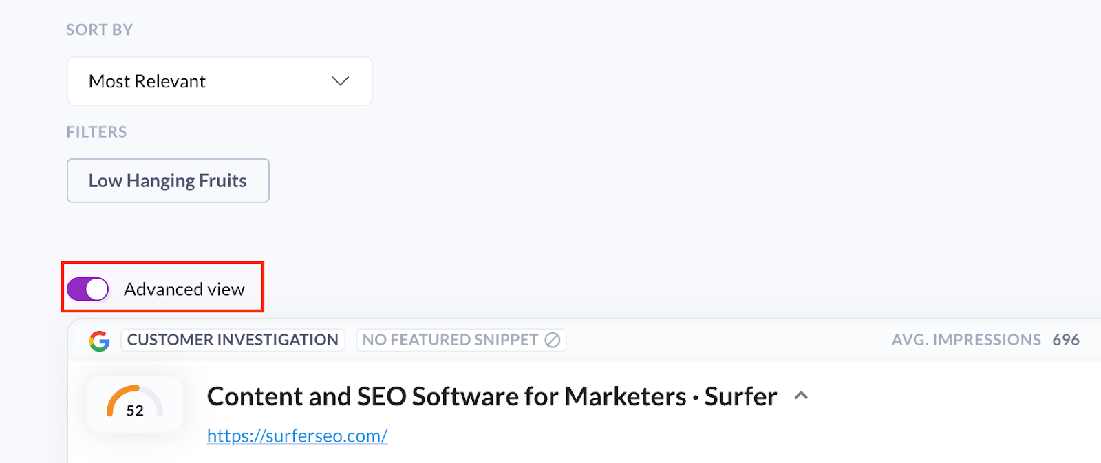 Advanced view in Surfer Content Planner for the domain