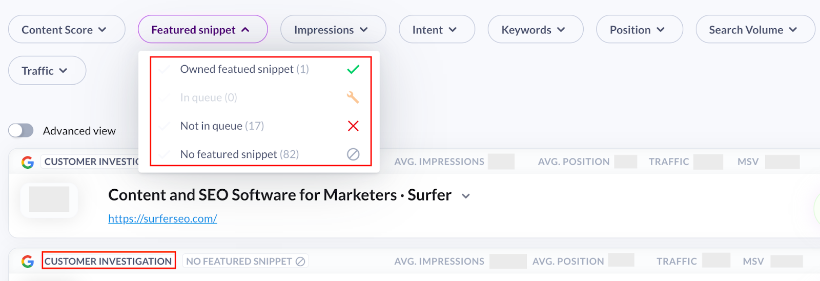 Featured snippets in Surfer Content Planner for the domain