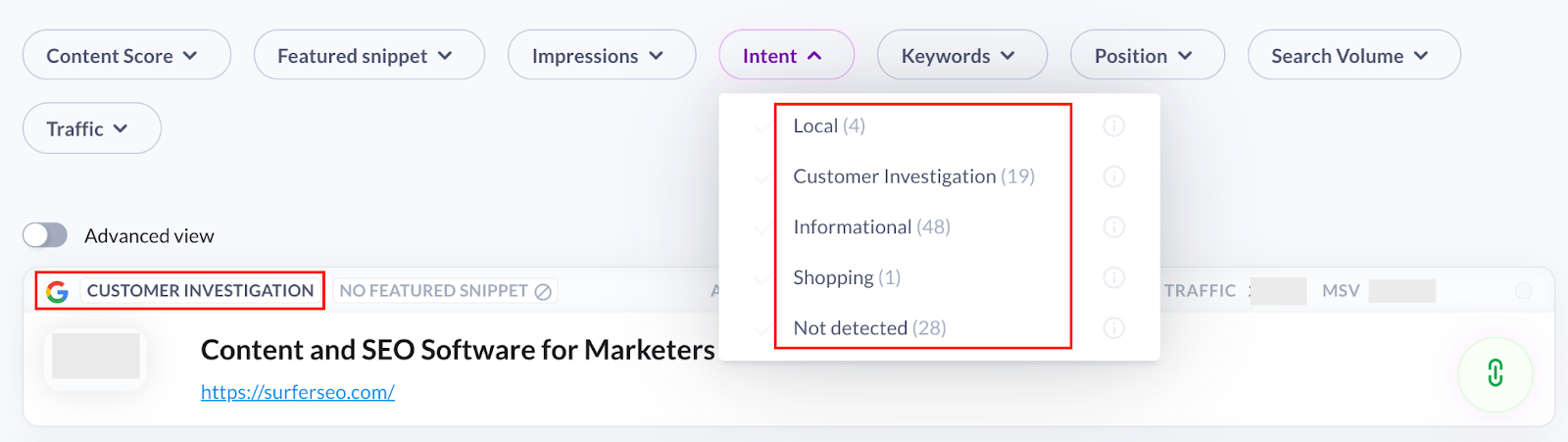 Search intent in Surfer Content Planner for the domain