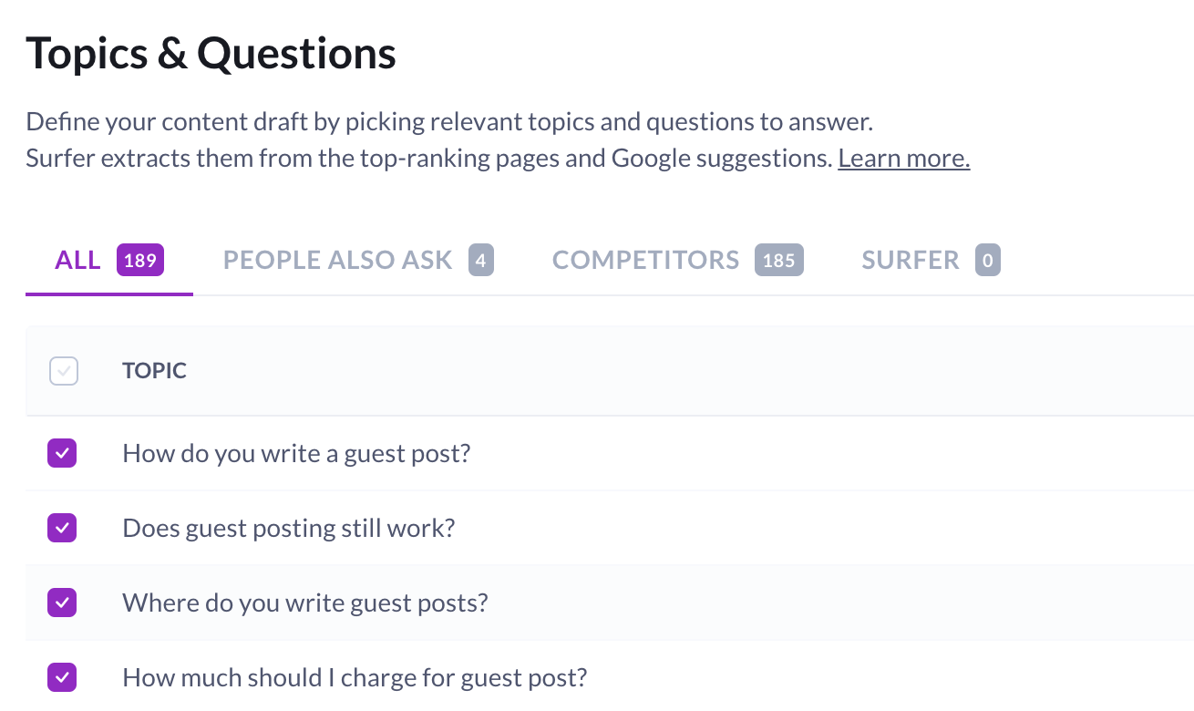 Topics and questions in Surfer Content Editor